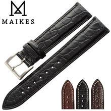 Maikes 14mm-24mm hq genuine jacaré acessórios homens pulseiras de relógio faixa de relógio pulseira de couro preto pulseira para longines