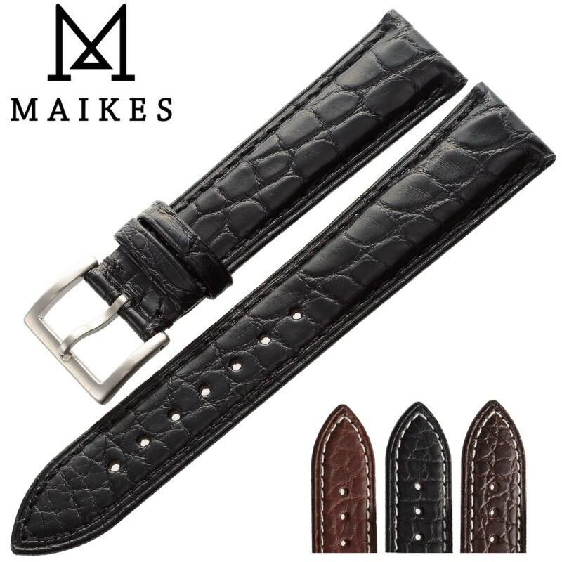 MAIKES 14mm-24mm HQ véritable Bracelet en cuir Alligator Bracelet de montre accessoires noirs hommes bracelets de montre Bracelet pour Longines
