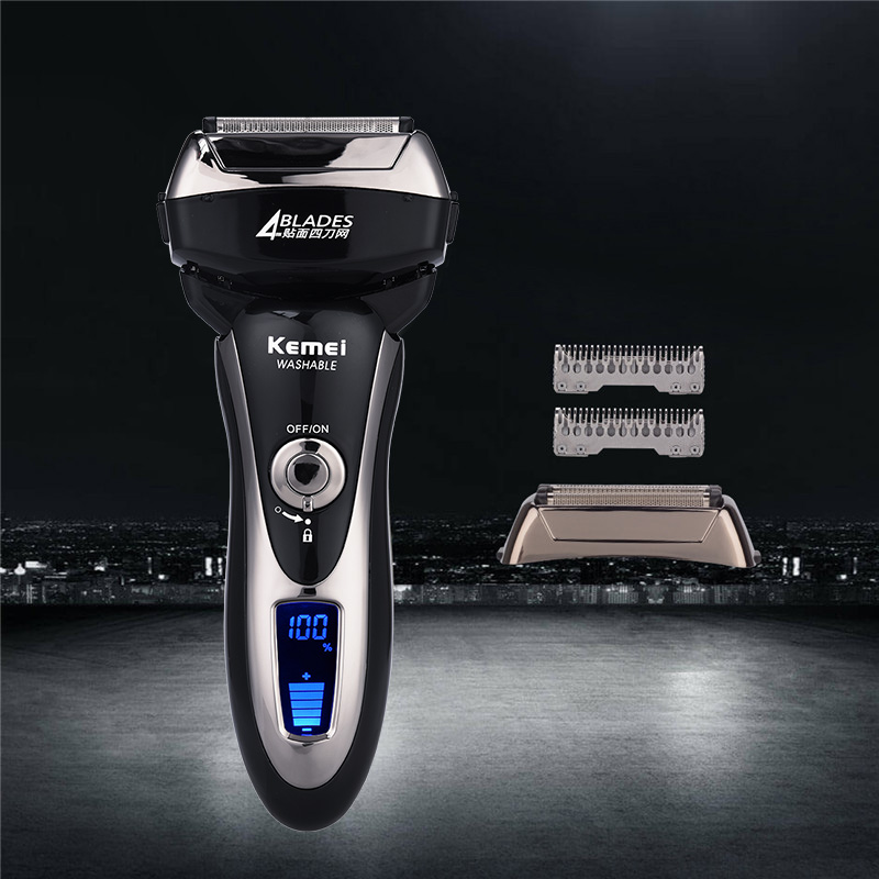 Kemei KM-5568 Electric Shaver Razor Reciprocating Four Blade Head Razor Men Machine Shaving LCD Display barbeador eletrico+Blade free shipping pritech body waterproof slience 3 head electric shaver shaving barbeador for men the blue color