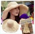 Nueva marca de Moda 2016 de Las Mujeres Plegable de Ala Ancha Beach Floppy Verano Sombrero de Paja Dulce Mariposa Cap para las mujeres niñas