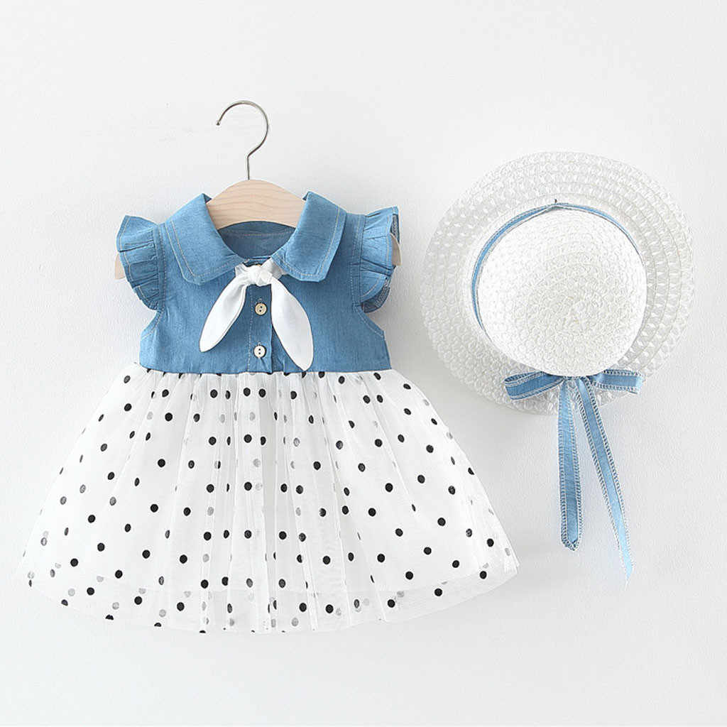 Baby Girl Summer Clothes Polka Dot Print Patchwork Tulle Princess Dress Kid Girls Bowknot Turn-Down Collar Dresses+Straw Hat Set