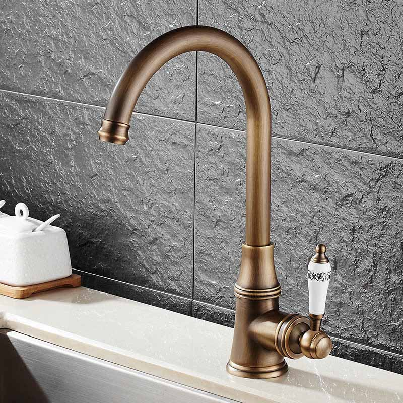 Single Lever Faucet 360 Rotate Deck Mounted Kitchen Faucet Torneira Single Holder Single Hole Mixers Taps MH 03Kitchen Faucets