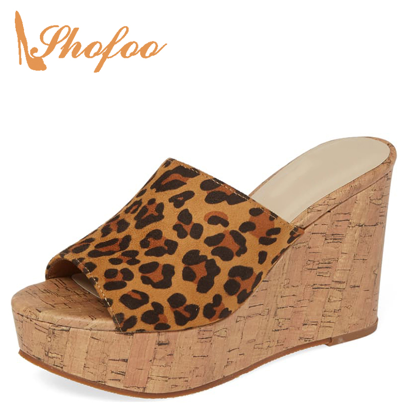 Platform Sandals Slippers Heels Summer Shoes Cork Brown High-Wedges Leopard Small-Size