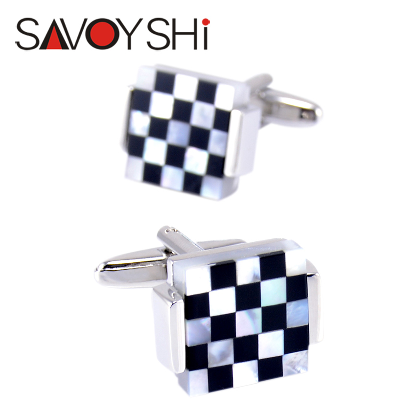 SAVOYSHI Luxury Square Cufflinks for Mens French Shirt High Quality Black White Shell Cuff links Wedding Grooms Gift Man Jewelry