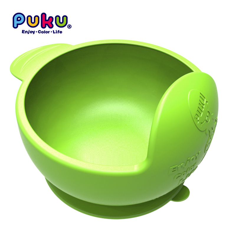 Puku Original Silicone Suction Bowl Arc-shaped Design Baby Tableware Feeding Plate For Children Ordinary And Temperature Sensing