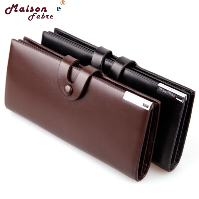 Maison Fabre Jasmine Men Long Section Button Bifold Leather Wallet Card Coin Wallet Purse Gift Dec24 drop shipping wholesale and retail antique brass hot cold vessel sink mixer tap bathroom basin faucet single handle hole