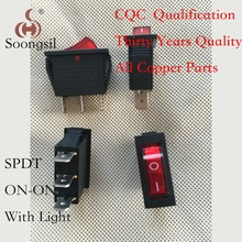 5PC/lot Free Shipping New  Soongsil  Red  3 Pin ON-ON 2 Position SPDT CQC UL  With Light   Boat  Rocker  Switch AC 15A/250V