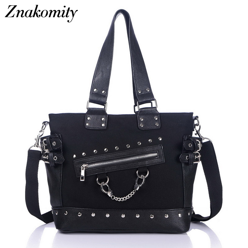 Znakomity Fashion women shoulder bag tote bag canvas leather women handbag ladies Rivet chain messenger shoulder bag black rivet fashionable women s tote bag with embossing and rivet design
