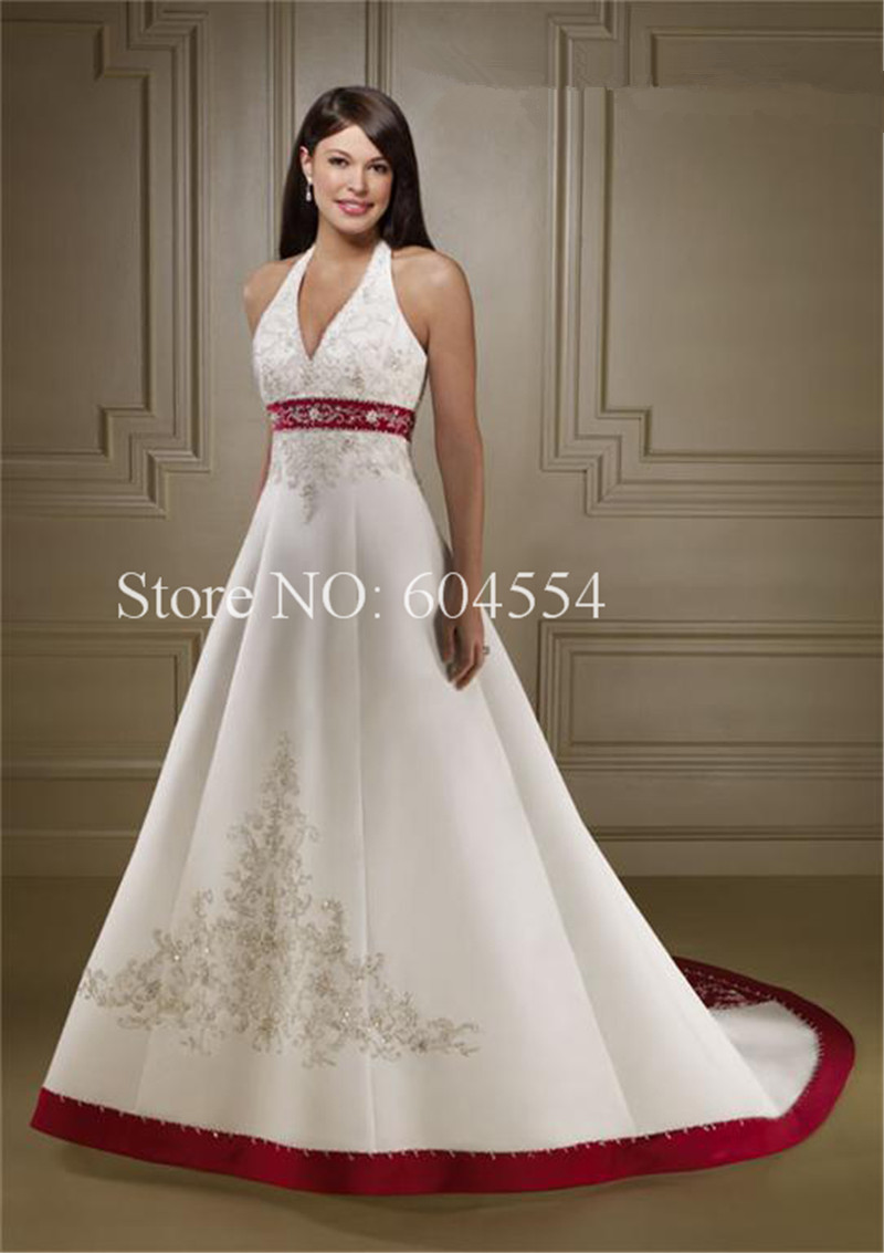 Custom Made Vestido De Noiva 2017 Ivory And Crimson Satin Embroidery Beading A Line Wedding Dress Casamento In Dresses From Weddings