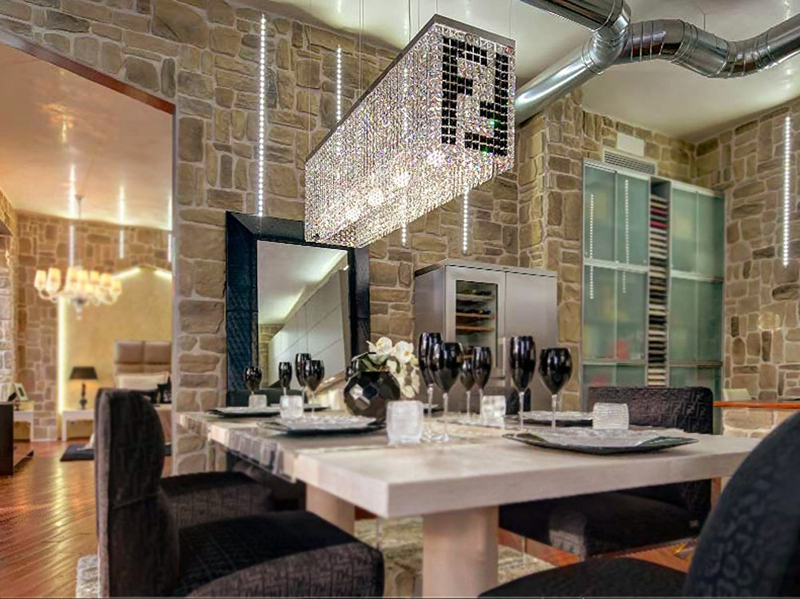 Modern Contemporary Luxury Linear Rectangular Double F Island Dining Room Crystal Chandelier Lighting Fixture In Pendant Lights From On