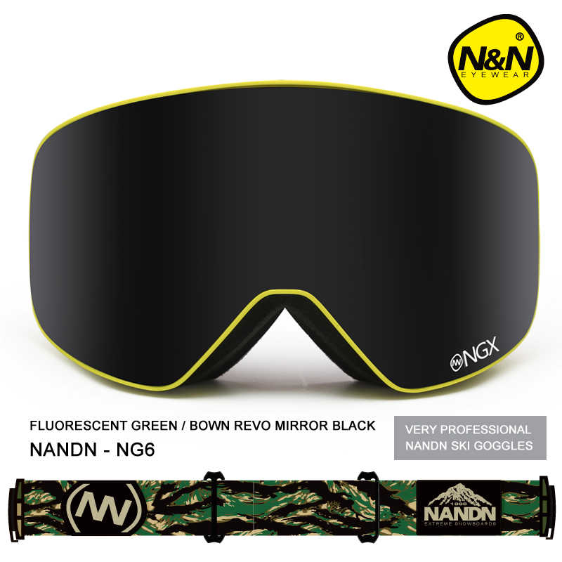 Nova marca nandn óculos de esqui óculos de esqui uv400 lente dupla anti-nevoeiro adulto snowboard óculos de neve dos homens das mulheres