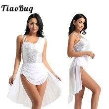 TiaoBug femmes sans manches paillettes Ballet Tutu mousseline de soie robe gymnastique justaucorps adulte Ballet justaucorps scène lyrique danse Costumes