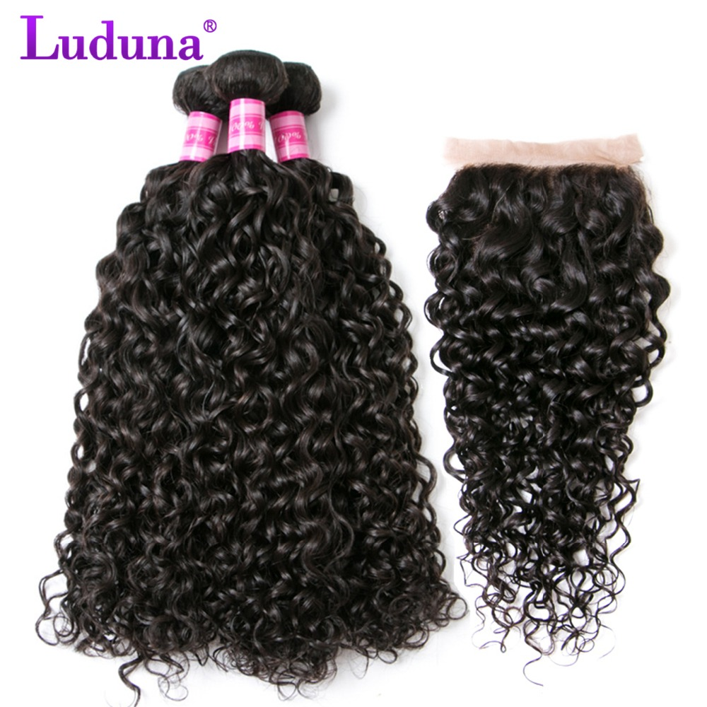 Water Wave Bundles With Closure Brazilian Remy Hair Weave Human Hair Bundles With Closure 3 Bundles With Lace Closure Luduna