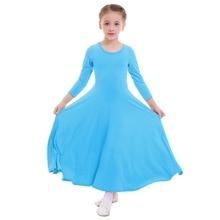 2019 New Children Girls Praise Dress Long Sleeve Pleated Swing Church Liturgical Dance Wear Kids Ballet