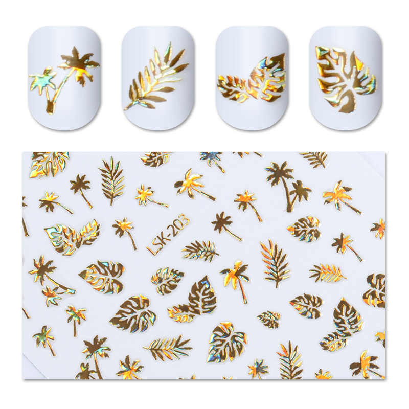 1 Sheet Holographic Gold 3D Nail Sticker Coconut Tree Leaf Holo Flower Laser Adhesive Decal Sticker Manicure Nail Art Decal