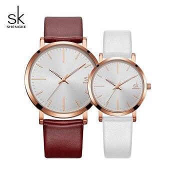 64b292529dfd Shengke модные парные часы 2019 Топ бренд класса люкс кварцевые часы  женские мужские кожаные часы SK Reloj Mujer Hombre # K8039