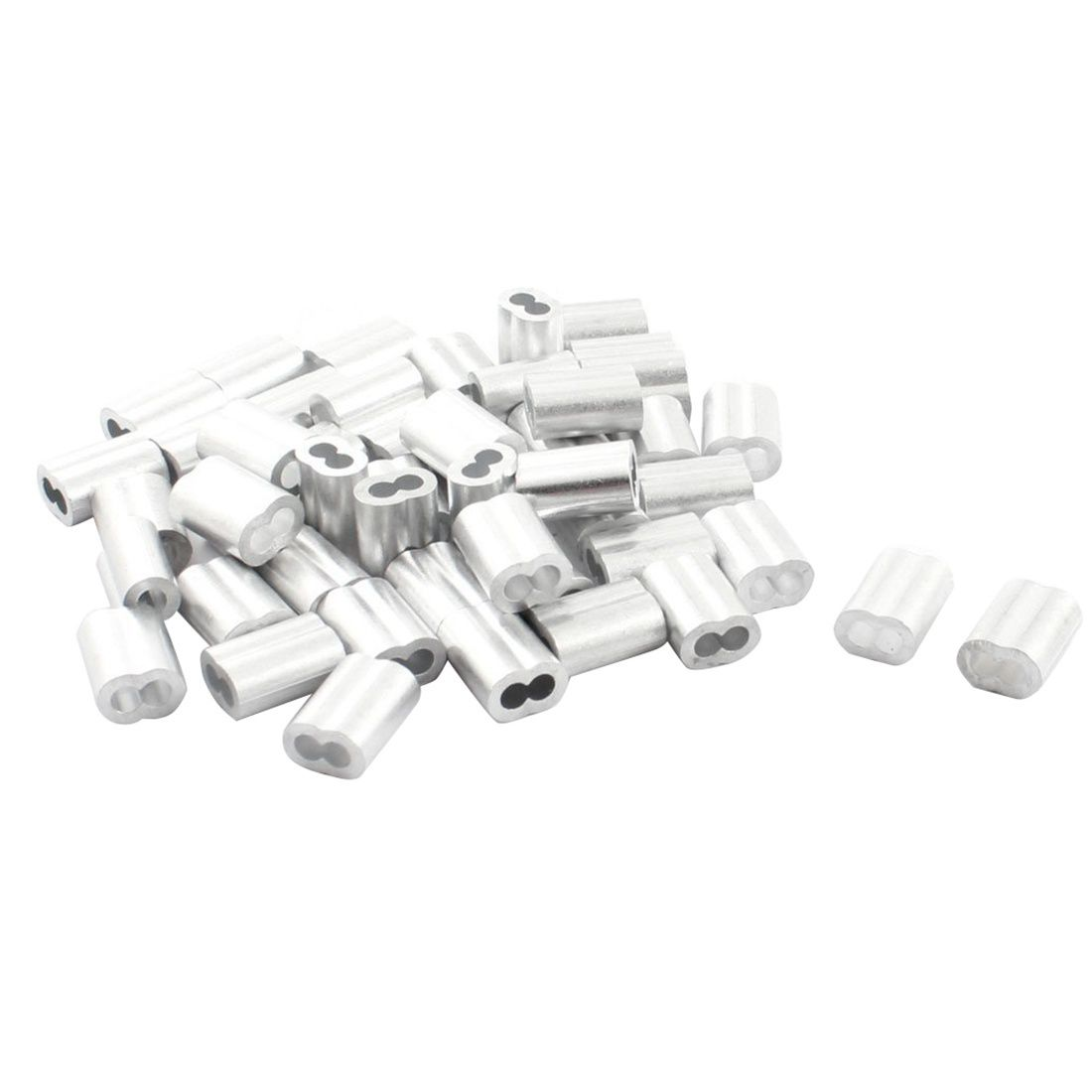 100pcs wire rope aluminum cable crimps sleeves clip fittings loop sleeve ferrule stop wire rope