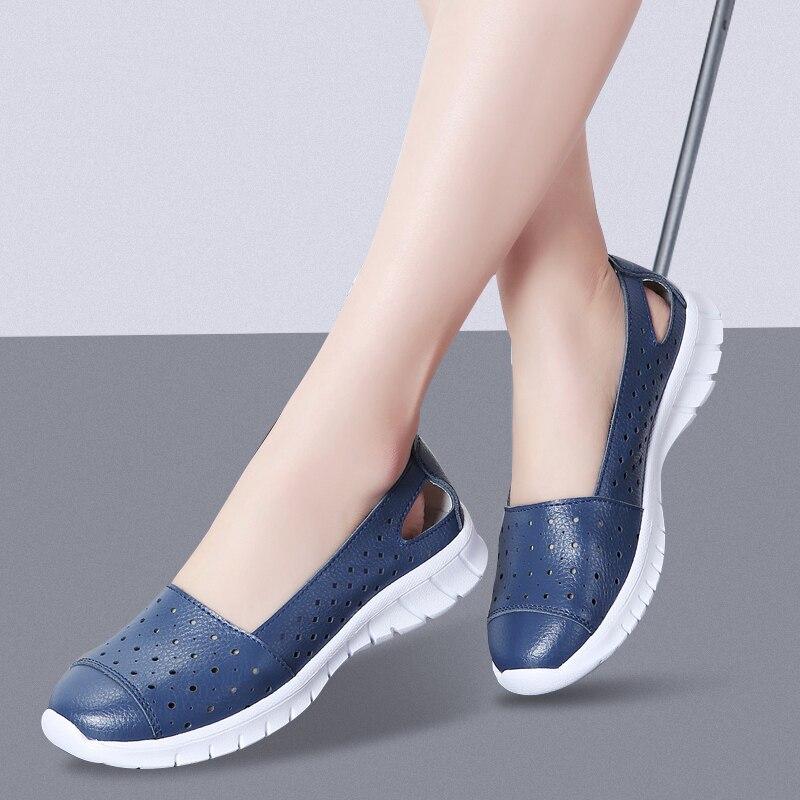 Lightweight Summer Women Loafers Shoes Slip Ons Flats Woman Sneakers Blue  Nurse Shoe Ladies Flat Footwear Wimen's Big Size 35 42 Women's Flats  -  AliExpress