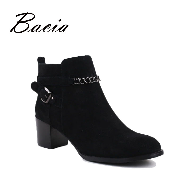 Bacia- fashion genuine leather ankle boots,round toe, square heel, Sheep Suede,Short Plush,Handmade Women Shoes VC019 bacia genuine leather boots short plush women shoes black simple style ankle boots with zipper handmade high quality shoes vd021