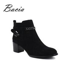 Bacia-Модные ботильоны на меху из натуральной кожи, с круглым носком, обувь на квадратном каблуке, из овечьей замши, Короткие Плюшевые ботинки, Женские туфли ручной работы VC019