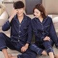 Пара Пижамы Любовь Женщин Шелк Пижамы Осень С Длинными рукавами Пижамы Брюки Мужчины гостиная пижамы Пижамы Набор
