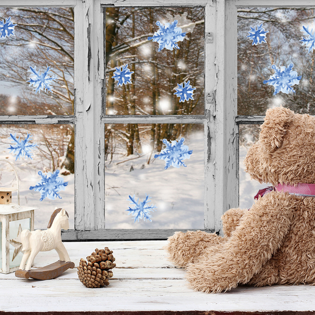 Funlife Christmas Blue Snowflakes Decals DIY Wall Mural Wall Sticker For  Kids Decoration Peel U0026 Stick Part 77