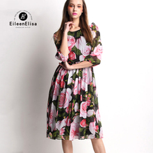 Silk Dress Floral Print Runway Dresses Womens Brand Midi For Women Elegant 2017 Luxury