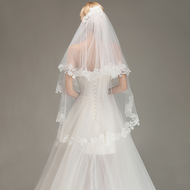 Ultimate SaleWedding-Veils Short Bridal Veil Lace Ivory Comb Tulle Edged Velos-De-Novia White Two-Layers