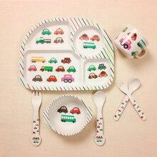 Baby Bamboo Fiber 5 Pcs/Set Tableware Set Baby Plate Children Cartoon Separation Plate Bowl Fork Spoon Cup Set Feeding Supplies
