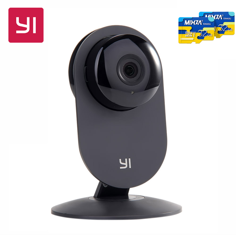 цена Xiaoyi YI Home Camera With 32G SD Card HD 720P Wireless Camera Video Monitor Nectwork Night Version IP Camera WiFi Webcam онлайн в 2017 году