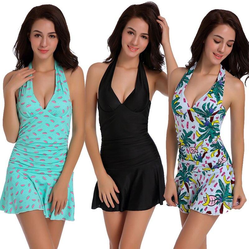 One Piece Skirt Swimsuit Closed Plus Size 2XL Underwire Push Up Padded Conservative Boxer Shorts V Neck Backless Lady Swimwear