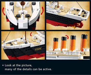 Image 4 - Titanic RMS cruise Boat ship City Model building kits 3D  Blocks Educational Figures diy toys  hobbies for children Bricks