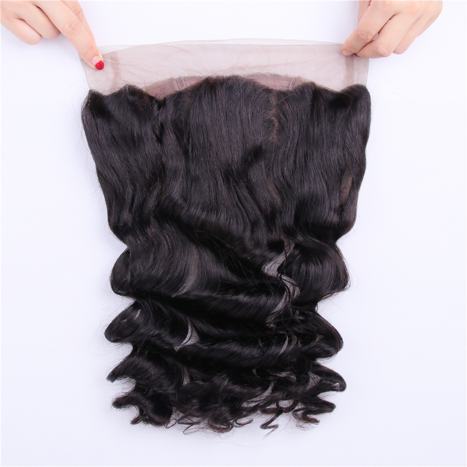 Clover Leaf Peruvian Loose Wave Hair Extensions 360 Lace Frontal Closure 1 Pc Non Remy Human Hair 360 Lace Frontal Natural Color