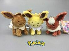 new Keychain DOLL TOY ;Q version Pokemon Plush Toy Eevee Jolteon Flareon Soft Plush Stuffed Animal; BAG Pendant TOY