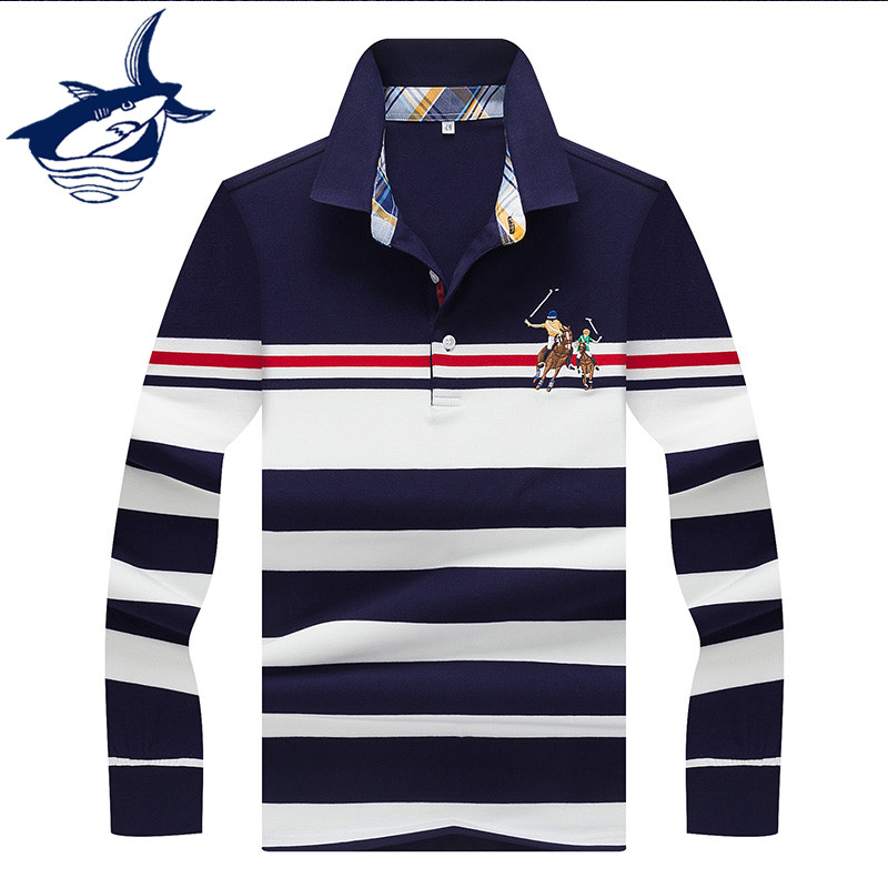 Polo Shirt Men Brand High Quality Tace & Shark polo shirt men long sleeve 3D striped camisa polo shirts