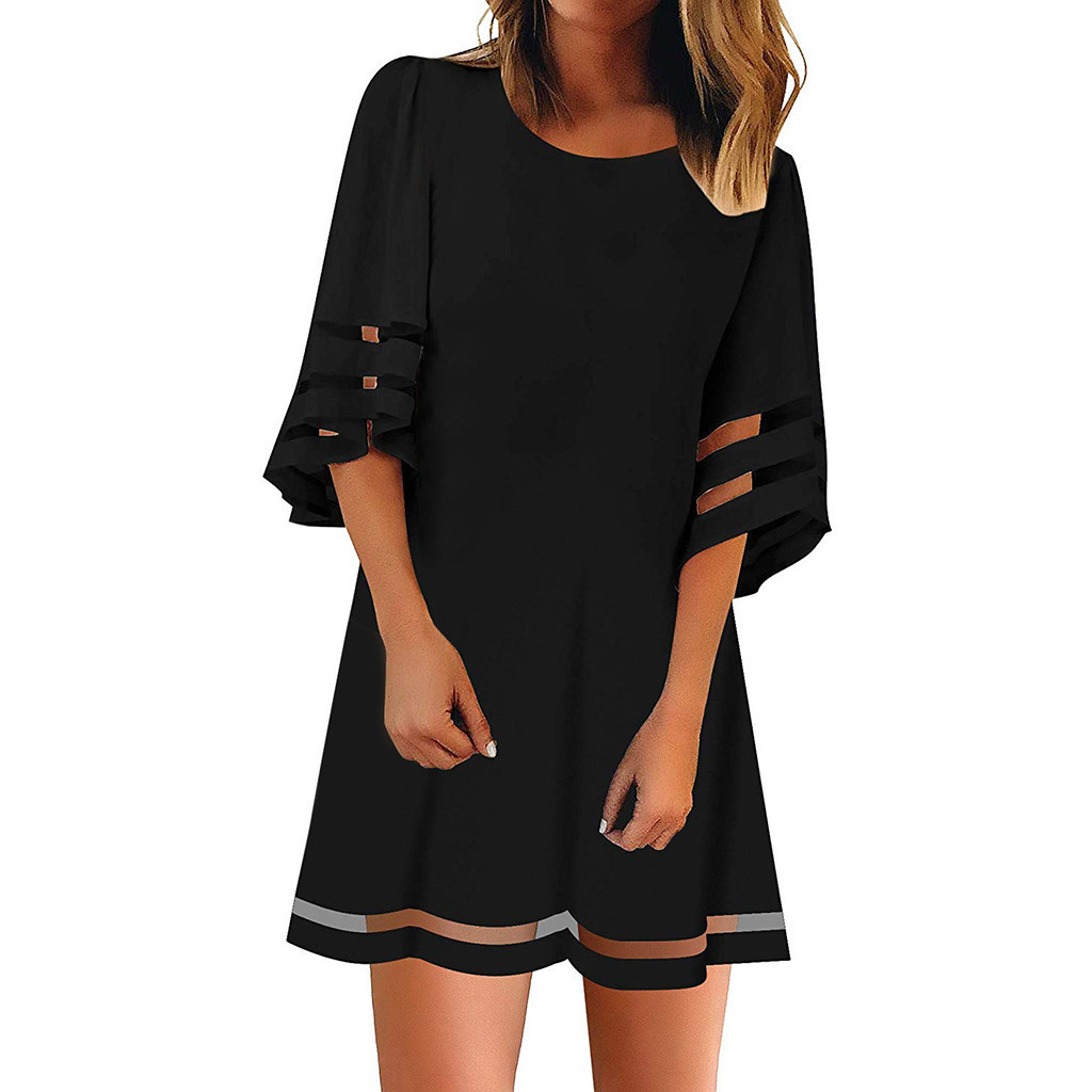 CHAMSGEND Women's O Neck Mesh Panel Blouse 3/4 Bell Sleeve Loose Top Shirt Dress Plus Size Three Quarter Sleeve Dress