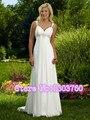2016 Chiffon Com Decote Em V do Assoalho-comprimento de Trem Em Estoque Branco Marfim Strapless Frisada Vestido Longo Vestido de Noiva Vestido De Noiva barato