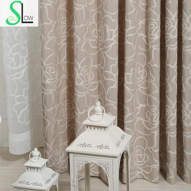 Rose Cotton Embroidered Curtain With Stereo Flower Type Multicolor