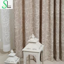 Rose Cotton Embroidered Curtain With Stereo Flower Type Multicolor Embroidery French Window Pastoral Floral Curtains Living Room