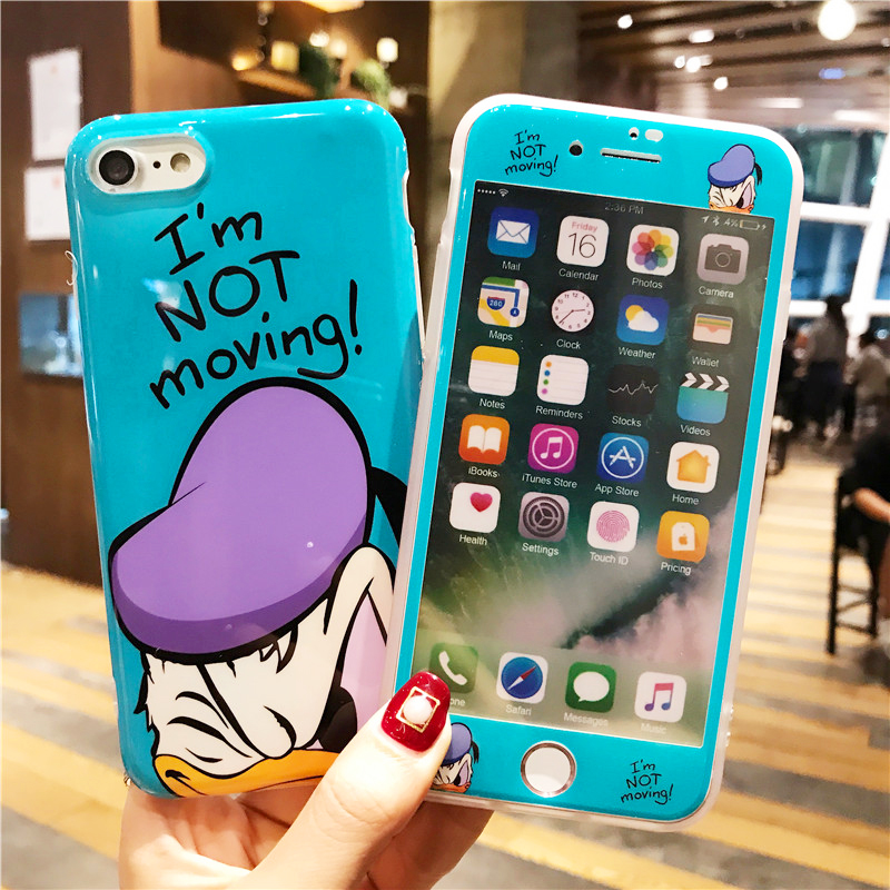 Cartoon Cute 360 Full Cover Phone Cases + Glass Screen Protector for IPhone X XR XS Max 6 6S 7 8