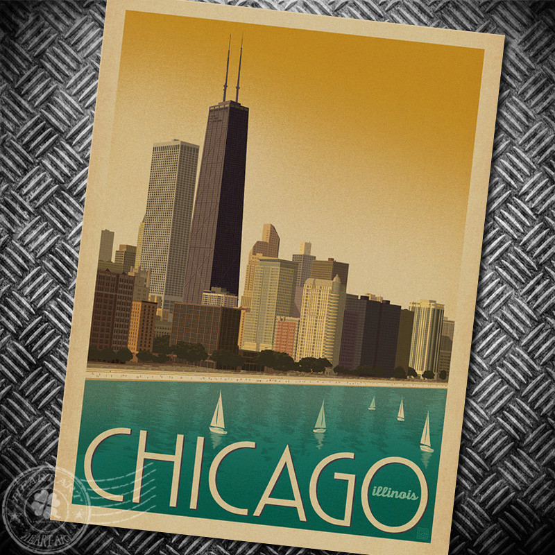 chicago vintage art posters