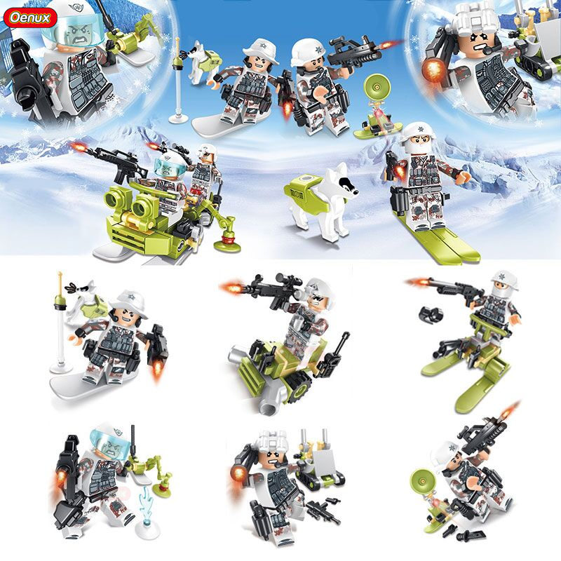 Oenux New 6PCS Modern SWAT Alpha Group Figures With Sled Husky Dog Model Military Building Block Set Toy DIY Brick Toy For Boys new very cool action toy figures 6 pcs orcs with weapon ancient military solider model set diy assembly half orc model puppet