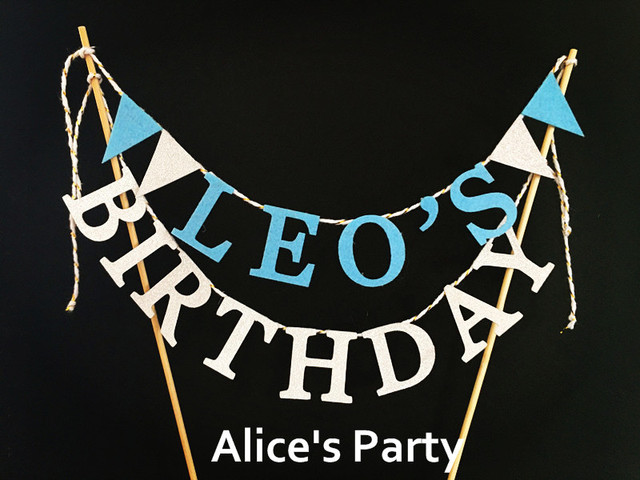 new personalized name birthday cake topper banner blue silver theme