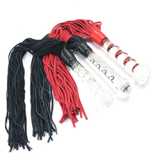 Genuine Leather Sex Whip Glass Anal Plug Flogger Spanking Paddle Glass Anal Dildo Unisex Slave Bdsm Toys Sex Products For Couple