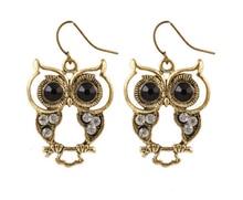 SBY0748 Cute Girl Women Alloys New Austrian Black Owl Earrings For Vintage Retro Jewelry Free Shipping