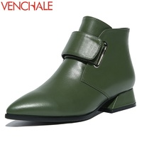 VENCHALE Ankle Boots Comfortable Thick Heels Genuine Leather Popular 2017 Elegant Hook Loop Concise Women Shoes