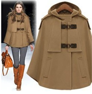 Fashion Hooded Woolen Cape Jacket Womens 2018 Autumn Winter New Loose Cashmere Poncho Coat Female Casual