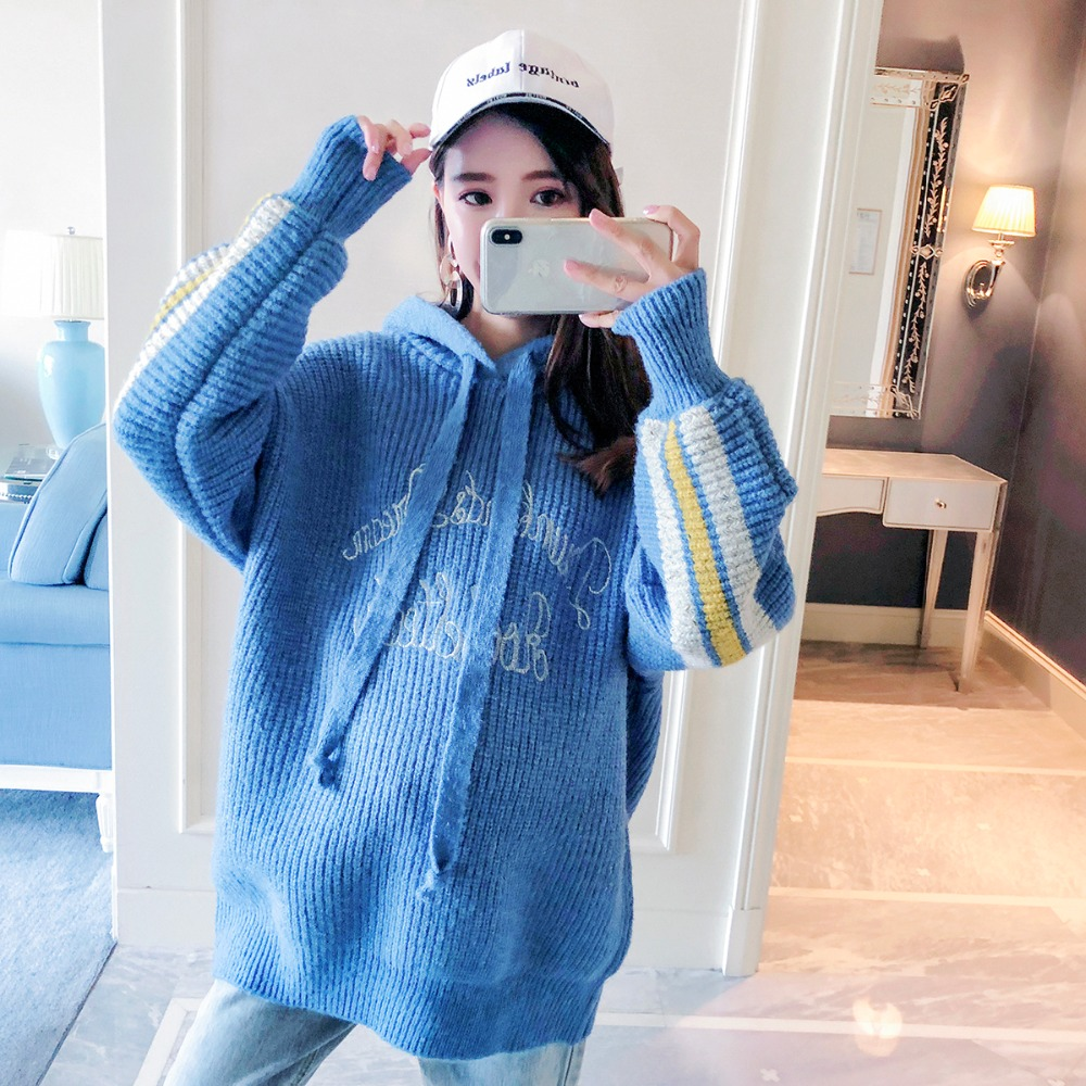 Pregnant women sweater large size loose long-sleeved maternity dress 2018 autumn and winter new fashion pregnancy hooded shirt autumn and winter new fashion maternity dress loose large size hooded detachable denim clothing coat pregnant women coat