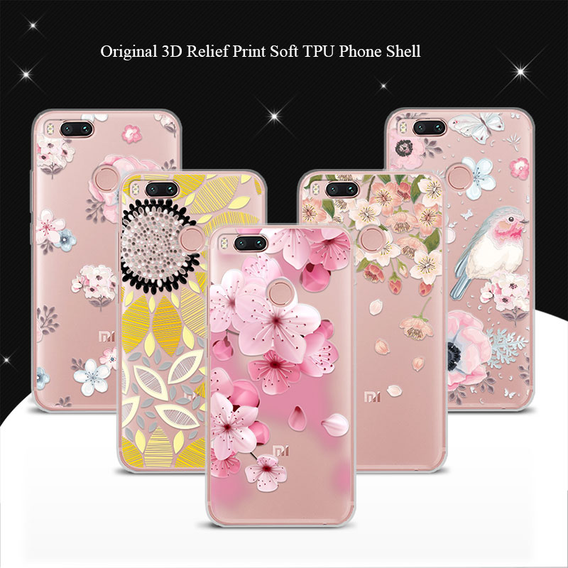 For Xiaomi Mi A1 5.5 Case Cover 100% Genuine 3D Relief Print TPU Soft Phone Cases Coque For Xiaomi A1 Lace Funda+Free Gift Pen