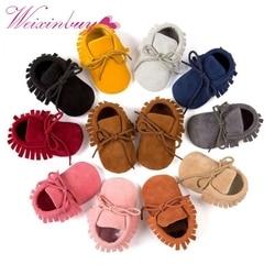 Мягкая нескользящая обувь с бахромой для мальчиков и девочек; мокасины из искусственной замши для новорожденных; QF